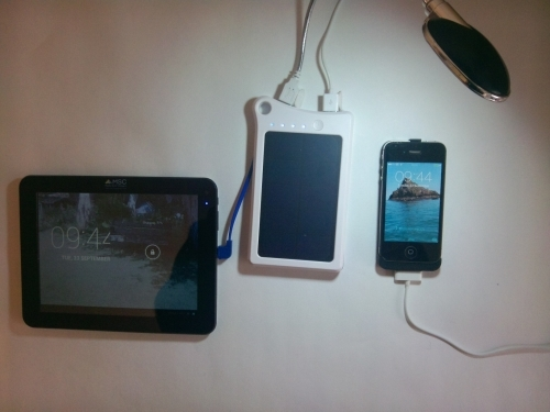 MSC Traveller 9000mah solar charger, charging iPhone and Tablet at night with LED