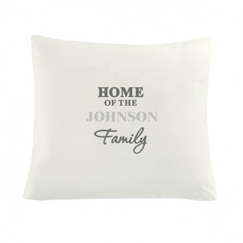 Personalised family cushion cover.