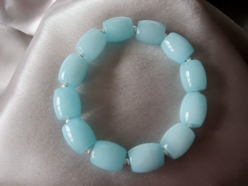 Chunky Blue Amazonite Barrel Beads & Sterling Silver Fluted Bicones Bracelet - SSB0185
