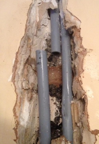 Nailed central heating pipe