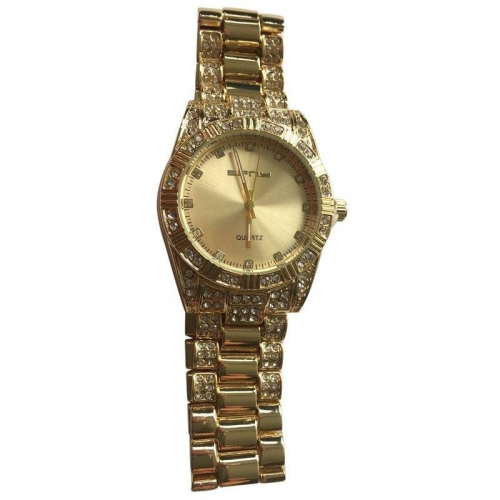 MEN'S GOLD ROUND ICED OUT BEZEL QUARTZ HIP HOP BLING BLING WATCH LINK WATCH STRAP