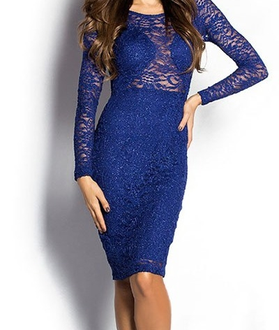 Royal Blue Sparkly Long Sleeve Lace Cut Out Midi Dress