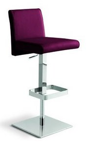 Italia Gas Lift Stool, Italian Leather Upholstery, Burgundy