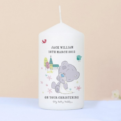 Personalised tiny tatty christening candle.