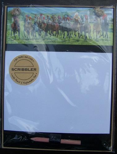 Horse Racing Scribbler Wooden Memo Pad