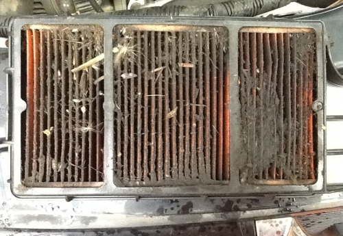 Lack of maintenance causes blocked Air filter