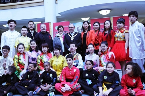 Students, performers of the London Confucius Institute with the Mayor of Croydon