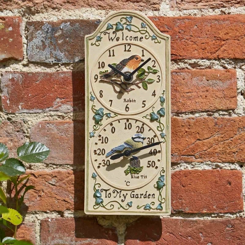Bird Wall Clock/Thermometer