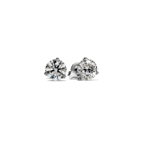 Hearts On Fire 18ct White Gold 3 Claw Stud Earrings P479 17272 Medium