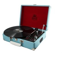 Attache Blue Vintage Record Player Suitcase