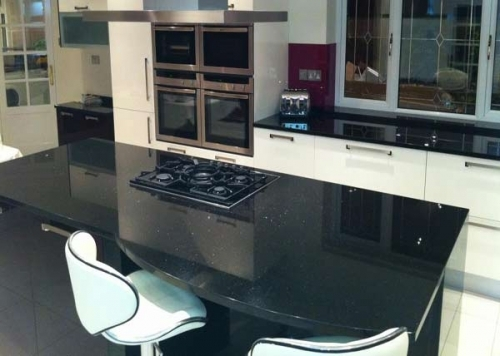 Black Galaxy Worktop With Island. Unique  Custom design tailored for Customer needs