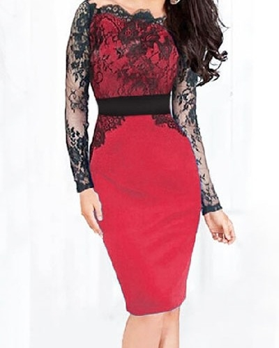 Red Off Shoulder Sheer Lace Long Sleeve Midi Dress