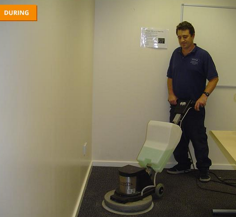carpet cleaning using rotary scrubbing machine