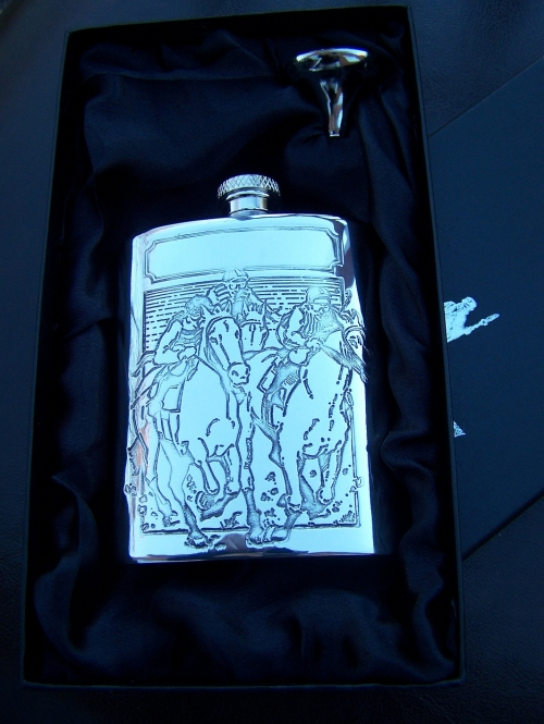 Horse Racing English Pewter Hip Flask