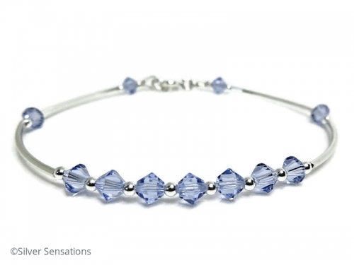 Lavender Purple Crystals Bridesmaids Sterling Silver Bangle Bracelet