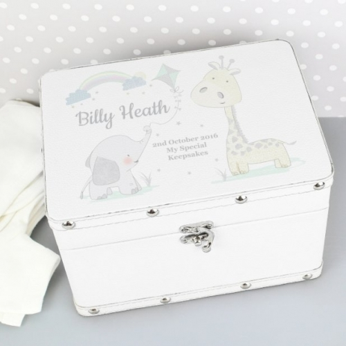 Personalised baby leatherette keepsake box.