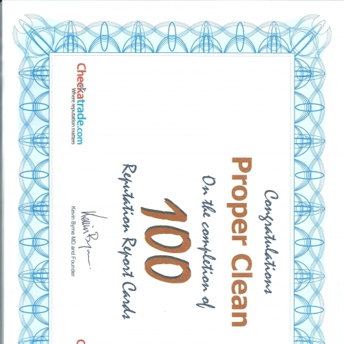 Proper Clean Proffesional Carpet and Upholstery Cleaners Checkatrade certifiacte for100 feedback cards processed.