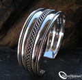925 Sterling Silver Celtic Weave Bangle Bracelet Cuff by Silver Nomad Jewellery UK