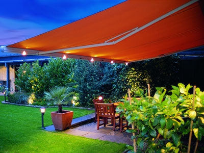 patio awning with lights