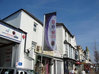 Lighweight digitally printed flags offer a great solution to being noticed on a busy high street.