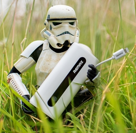 Eric the stormtrooper with one of the Remax power banks