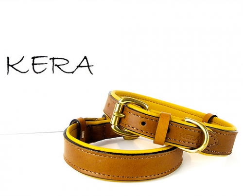 Luxury Tan Leather Dog Collar