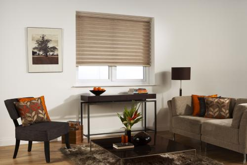 Louvolite 'Apex' pleated blinds, new in 50mm pleats