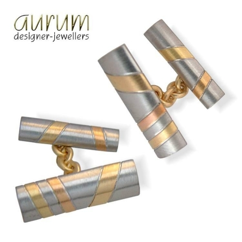 Cufflinks in platinum with 18ct yellow and red gold stripes