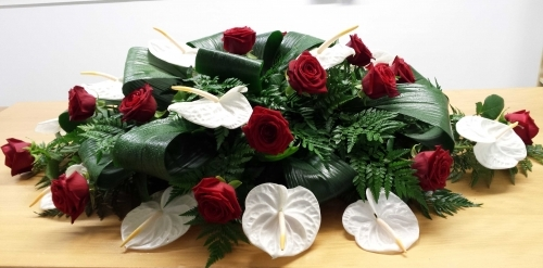 Funeral Flowers Casket Spray Anthurium and Naomi Red Roses