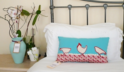 Unique Design Luxury Handmade Embroidered Cushion - Three Hens Design