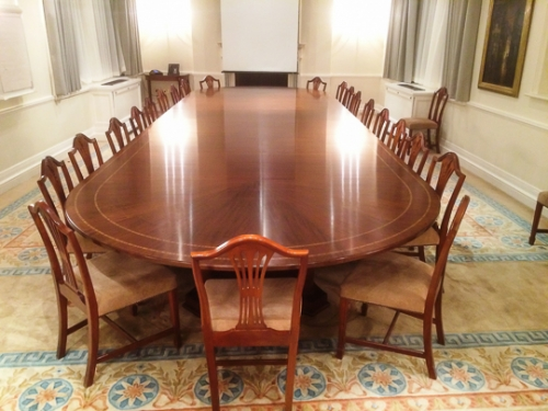 23' Boardroom table in Mahogany - fully adjustable length