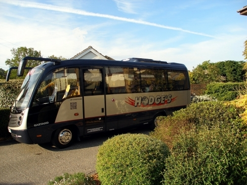 One of our 22 seater luxury minicoaches featuring air-con, double glazing, 3 point belts and reclining seats.