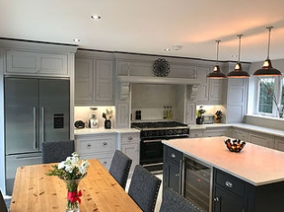 Edwardian Shaker grey kitchen and table
