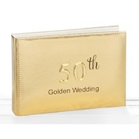 Golden 50th Wedding Anniversary Photo Album 18 X 13 X 3cm