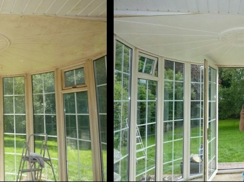 Conservatory Inside clean, before and after