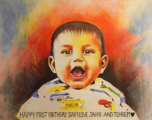 Baby Commission Birthday Present Painting Karenjanegreen Artist