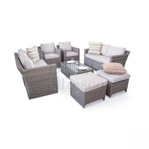 Garden Furniture - Deco Alfresco - Luxury High Back 9PC Grand Sofa Cube Set - Half Moon Rattan