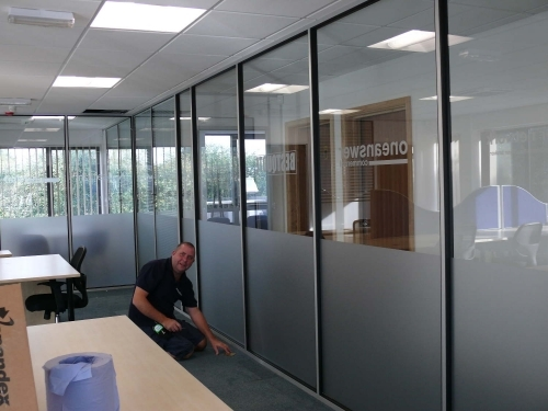 internal window frosting to partitions, a smart modern look can be acheived in a relatively short time. very cost effective way of offering privacy in meeting rooms etc.