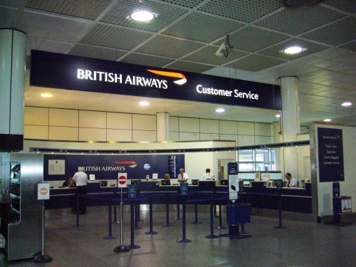 British Airways Illuminated Sign At Gatwick