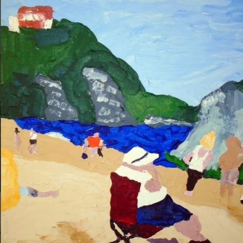 Woman on TYenby Beach Acrlylic on canvas 61cm x 76 cm 250