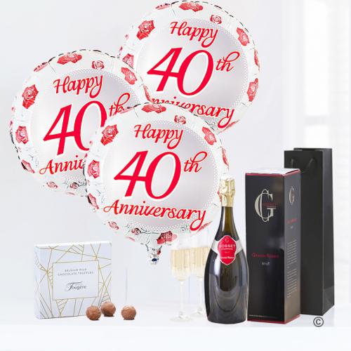 40th Happy Anniversary Balloon gift set Gosset Champagne and milk chocolate truffles)