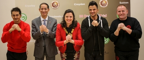 Master Paul Hawkes, Mr Fenghe Qiao from the Chinese Embassy, the Mayor of Croydon and Sifu Alan Paterson