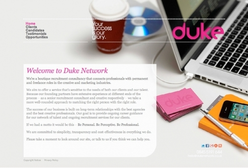 Website build for Duke Network, creative recruitment specialists