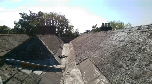 Does your roof contain asbestos either corrugated type or slate looking ?