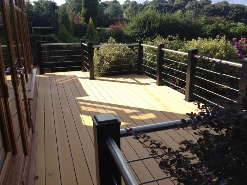 Composite Decking  handrails with stainless steel rods, Staffordshire.