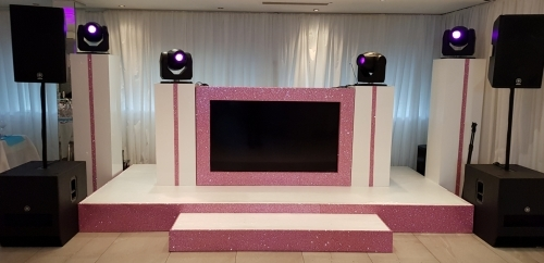 Basic DJ booth and stage with glitter facias