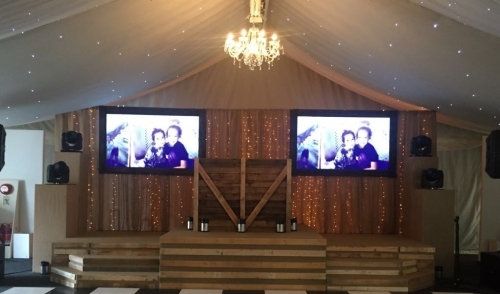 Rustic Stage And Dj Booth With 85 Screens