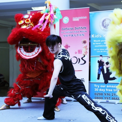 Performers from the London Confucius Institute with Kung Fu Schools Lion