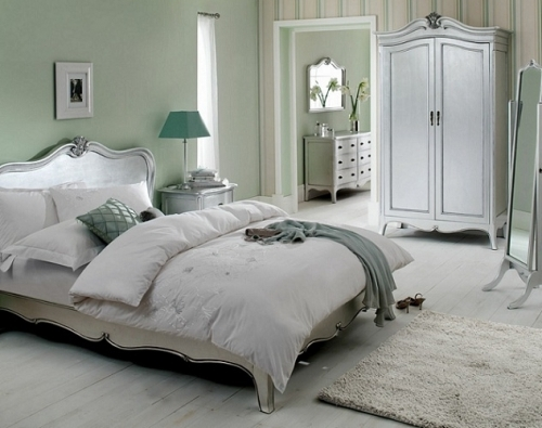 Louis French Silver Leaf Bedroom Furniture