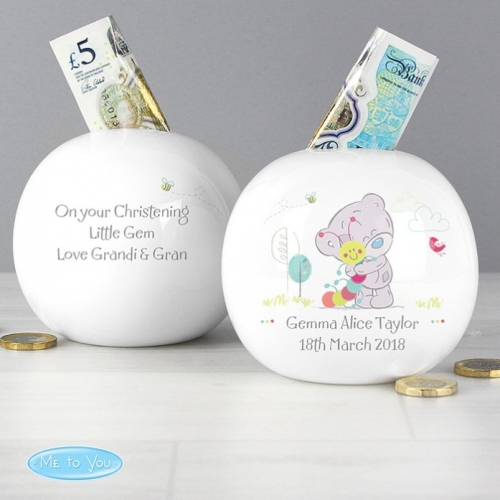 Personalised tatty teddy money box.